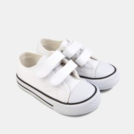 Zapatillas Lona Blanca Velcro Conguitos