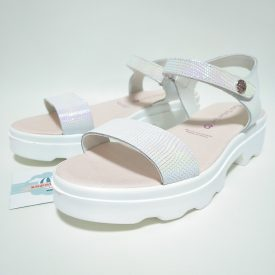 Paola Sandalia Blanca Plataforma Velcro Niña