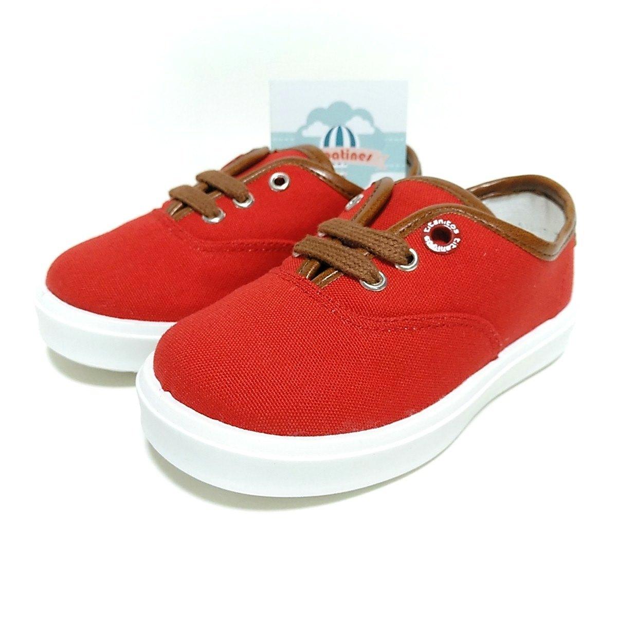 95d8d35e3 Titanitos lona roja con cordones y detalle cuero para niños   Zapatines