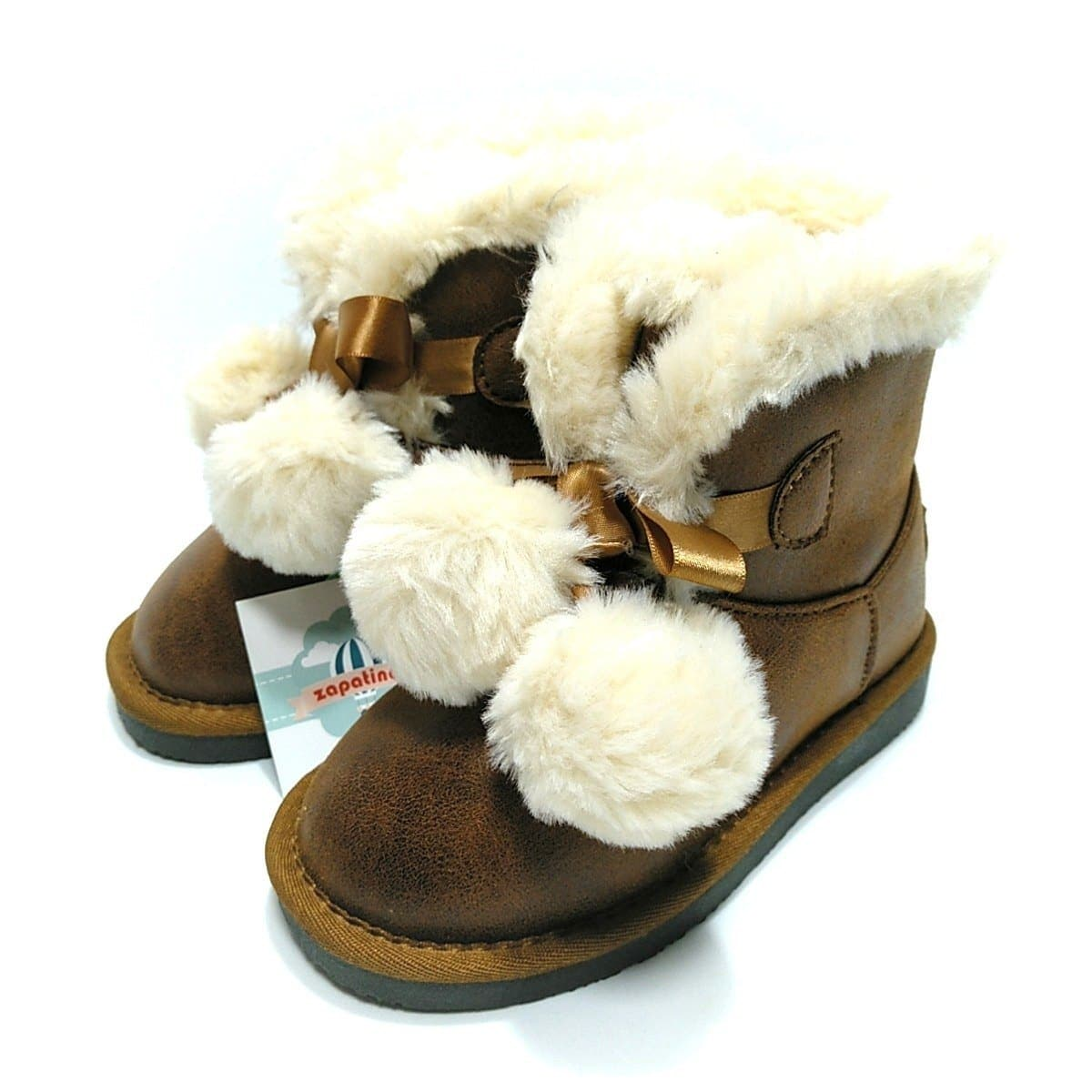 70f48bb3 Conguitos botas australianas pompones cuero para niña * Zapatines