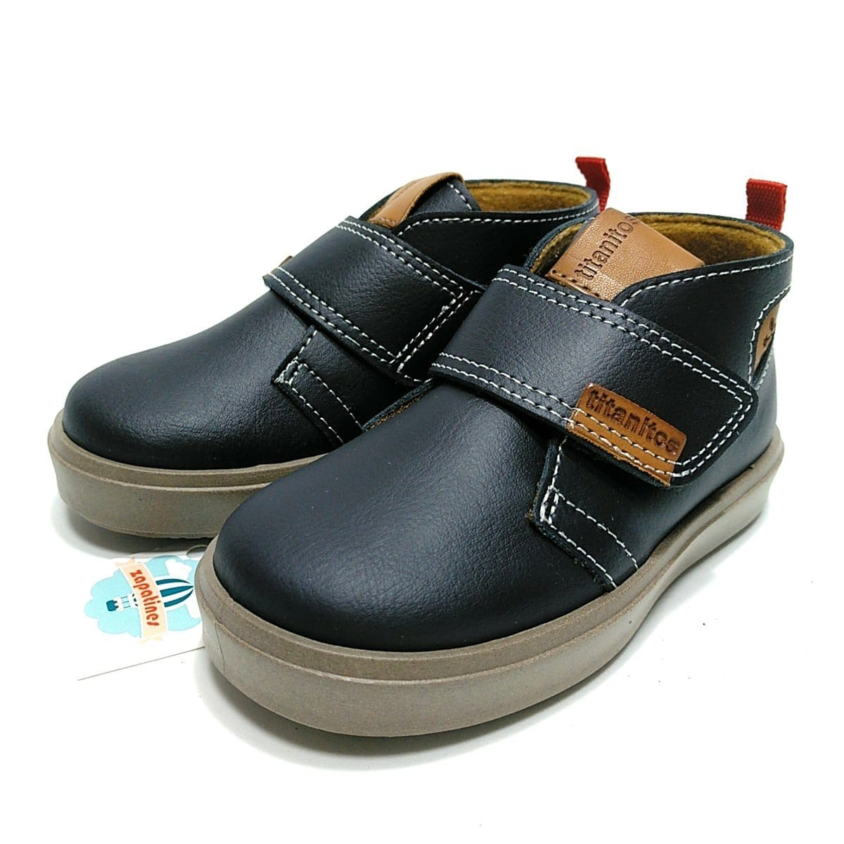 2a6cae689 Titanitos bota piel lavable marino velcro para niños   Zapatines