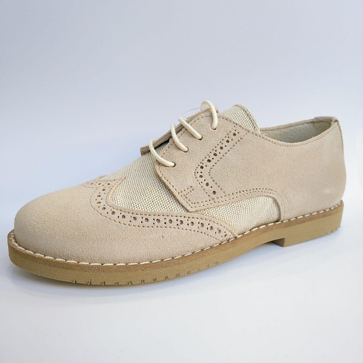b2776a7e Zapato Comunión Serraje Beige Picado Cordón ⋆ Zapatines
