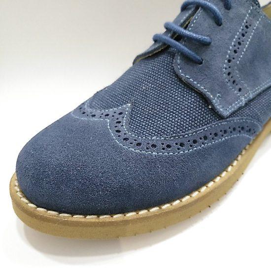 Zapato Comunión Serraje Azul Picado Cordón