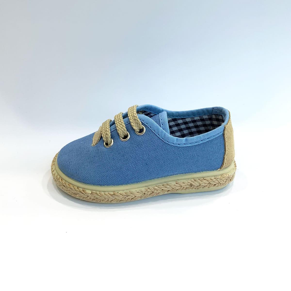 25791208 zapatilla azul de cordones y esparto. Click to enlarge. InicioNuestras  MarcasVulpeques Zapatillas Piqué Jeans Yute Cordones