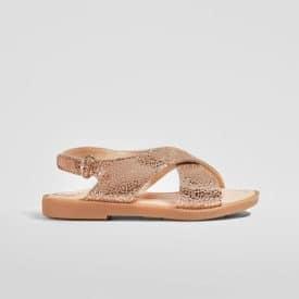 sandalias de piel para niñas en color magnesio metalizado con cierre de velcro conguitos