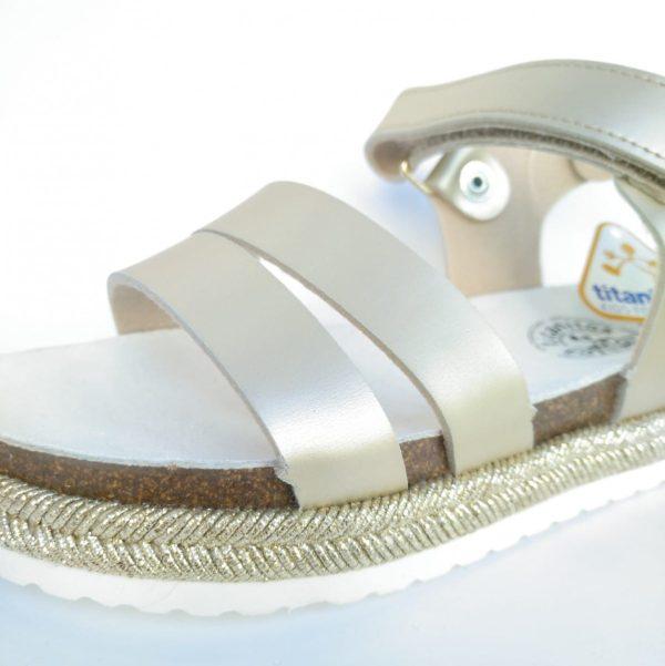 Sandalia Bio Oro Esparto Cierre Velcro Titanitos