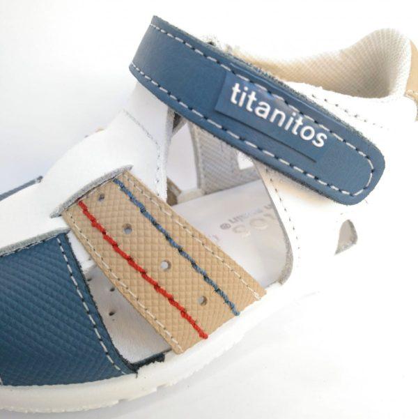 Sandalia Combi Blanca Lavable Velcro Titanitos