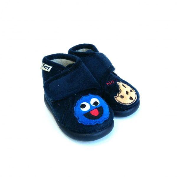 Zapatillas de Casa Cookie en Marino con cierre de velcro para niños