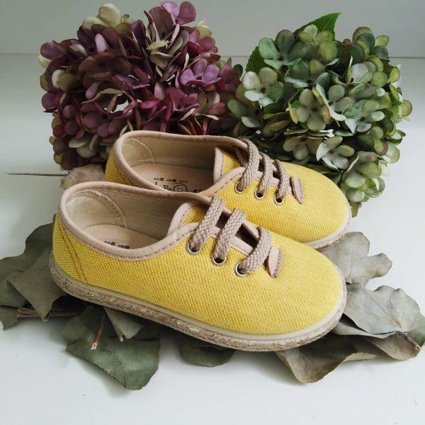 Zapatillas Lino Amarillas Yute Cordones