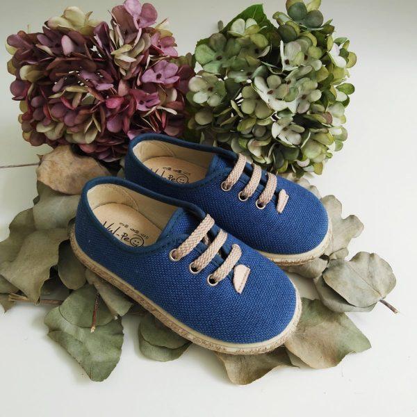 Zapatillas Lino Azul Yute Cordones