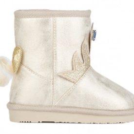 botas australianas en color platino o dorado con detalle de corona en el frontal, atrás tiene un lacito en glitter dorado y una colita, de la marca Conguitos