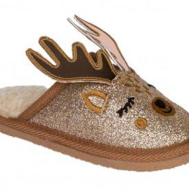 zapatillas de casa con carita de reno en glitter dorado, cuernos en platino iridiscente de Conguitos
